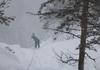 Abseilen im Schneetreiben