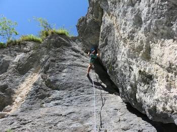 5. Seillänge steile Kaminverschneidung